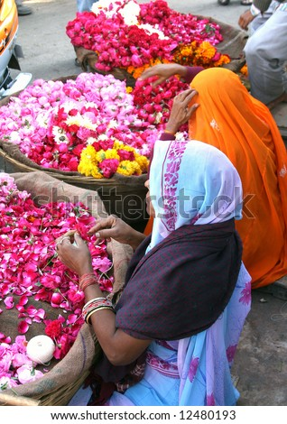 Flower sellers in Pushkar, India - stock photo