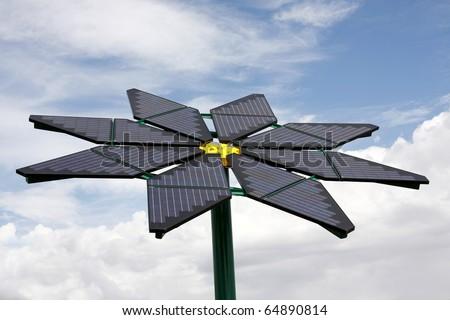 Flower Shaped Solar Panel - stock photo