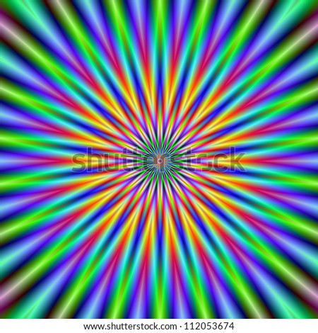 Flower Star/Digital abstract image with a colorful star flower design in green, blue, pink and orange.