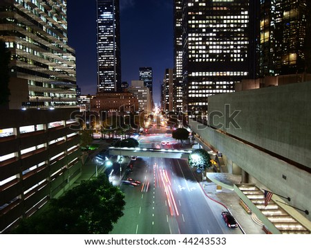 Flower Street in Downtown Los Angeles California.