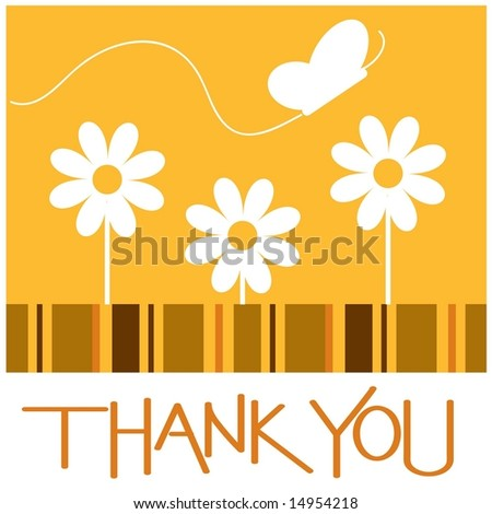 Flower sun and butterfly thank you card