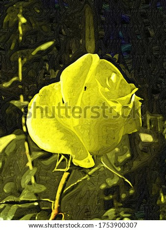 Flower tea yellow roses in the style of oil painting Fauvism
