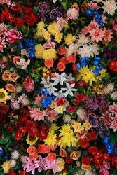 Flower texture background  wedding scene, artificial flowers wall backdrop.