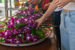 Flower to pray to the Buddha in Buddhist Holiday, Vesakha Bucha Day