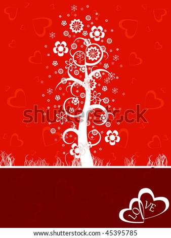 Flower tree on a red background.