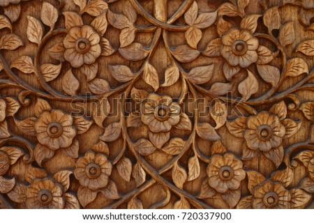 Flower Wood carving Buddhism style decoration at Wat Ram Poeng (Tapotaram), ChiangMai, Thailand