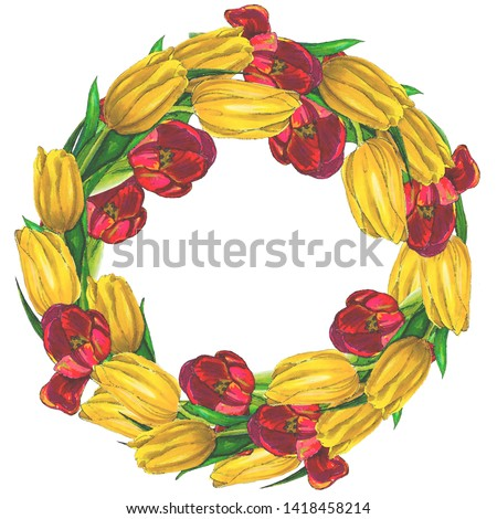 Flower wreath of red and yellow tulips on a white background, imitation watercolors. The basis for the wedding invitation, the basis for the wedding design. Copy space, isolated