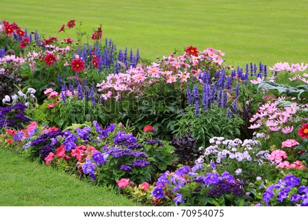 Flowerbed full of flowers in Luxembourg garden, France, Paris