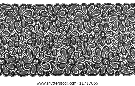 flowered  black lace