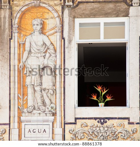 Flowering Bird of Paradise plant silhouetted in the open window of a beautifully ornate apartment exterior in Lisbon, Portugal.