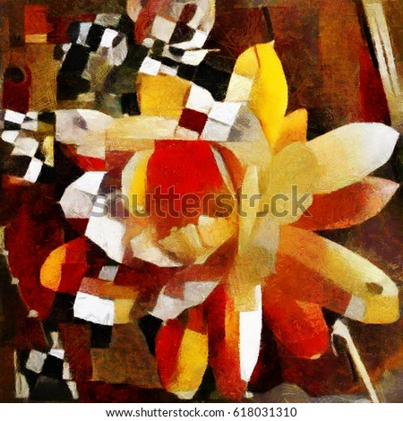 Flowering cactus. Abstraction in modern style with elements of cubism. Executed in oil on canvas.