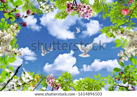 flowering sky ,flowering bird sky , leaf Stok fotoğraf ©