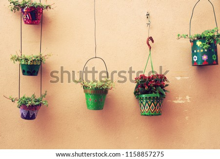 flowerpots hanging from wall