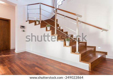 Flowerpots situated on wooden stairs in luxury home