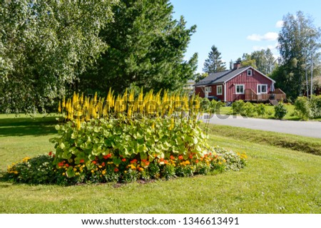Flowers and a falu red house in Gammelstaden, Sweden #1346613491