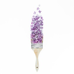 Flowers and brush with purple lilac isolated on white background. Flat lay, top view