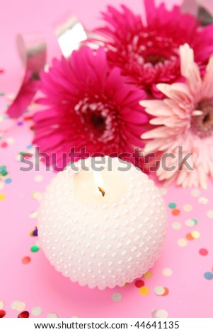 Flowers and candle #44641135
