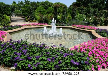 flowers and fountain flowers and fountain of Hill Top Park in Yokohama, Japan