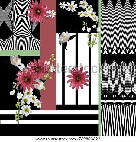 flowers and geometric  pattern #769803622