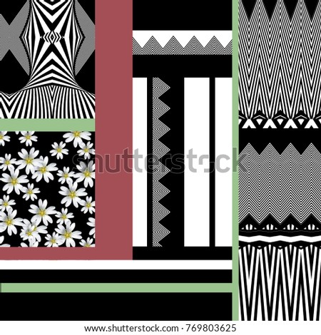 flowers and geometric  pattern #769803625