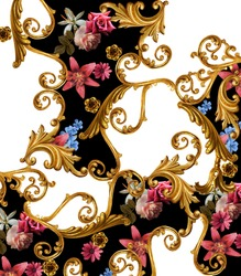 flowers and golden baroque