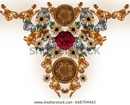 flowers and golden baroque  #668704465