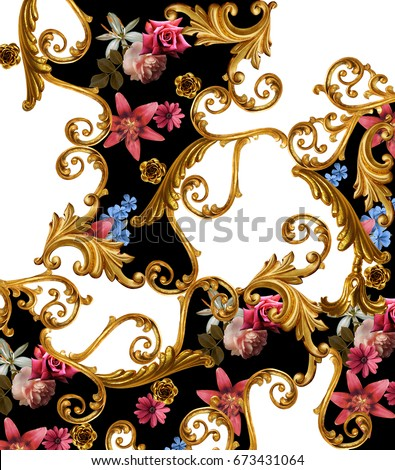 flowers and golden baroque  #673431064