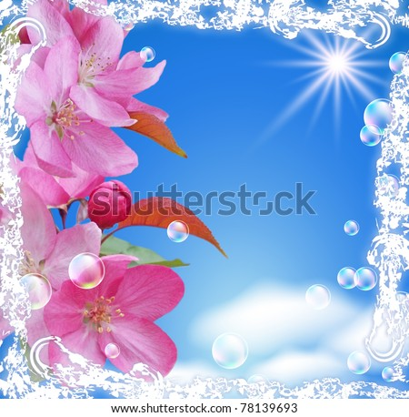 Flowers and  in a white open-work frame
