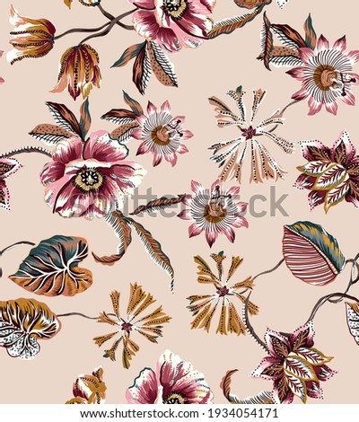 Flowers and leaves vintage ethnic seamless pattern fabric texture repeat. Botanic plants, leaves, leaf, branch, lily, tulip, peony, wild flowers floral elements antique folkloric damask batik motif.