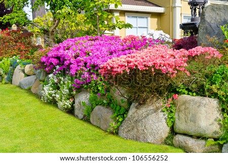 Flowers And Stones In Front Of The House, Front Yard. Landscape ...