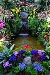 Flowers and waterfall in indoor garden, vancouver island, british columbia, canada