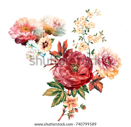 Flowers are full of romance, the leaves and flowers art design