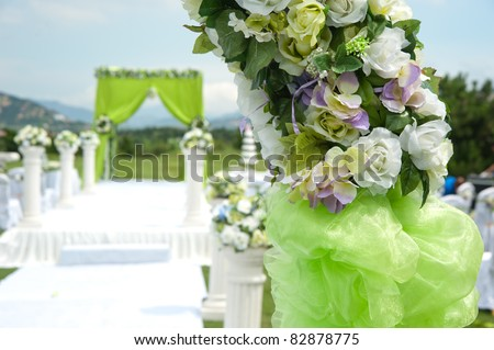 Flowers at an outdoor wedding venue