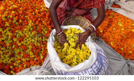 Flowers at the flower market in Kolkata. India