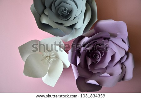 stock-photo-flowers-background-colourful-handmade-paper-flowers-on-pink-background-vintage-paper-flowers