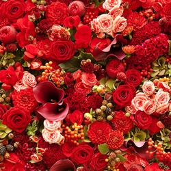Flowers background with roses, berries, asters and callas