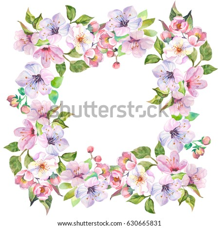 Flowers Border With Watercolor Spring Flowers Ez Canvas
