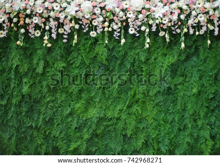flowers bouqet and leave bakcground,wedding backdrop #742968271