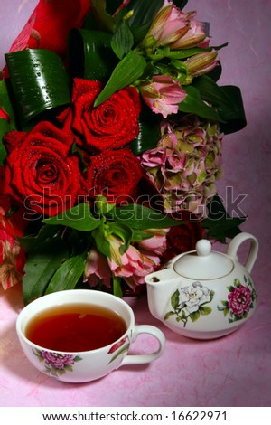 flowers bouquet and tea