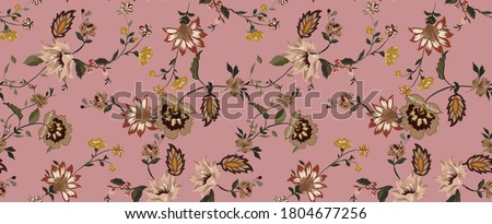 Flowers branches ethnic seamless pattern fabric design wallpaper composed by vintage antique ethnic leaves and branch on antique pink background.