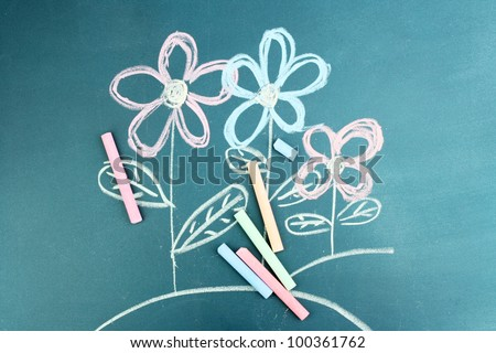 Flowers, child\'s drawing with chalk