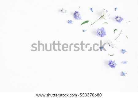 Flowers composition. Border made of lilac and white flowers. Flat lay, top view, copy space #553370680