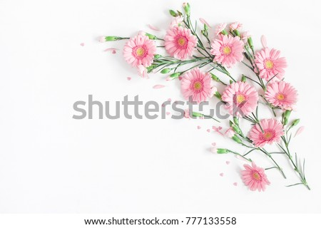 Flowers composition. Frame made of pink flowers on white background. Valentine's Day background. Flat lay, top view, copy space. #777133558
