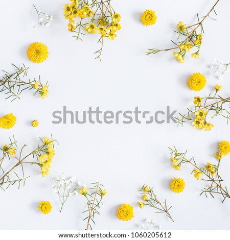 Flowers composition. Frame made of yellow flowers on gray background. Flat lay, top view, square, copy space #1060205612
