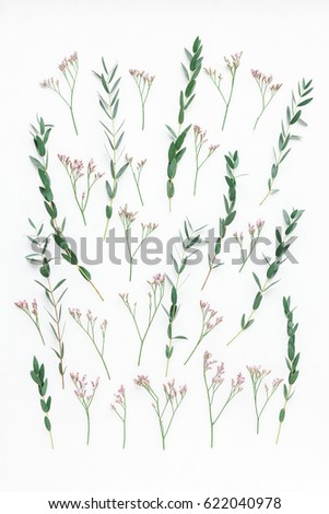 Flowers composition. Pattern made of pink flowers and eucalyptus branches on white background. Flat lay, top view