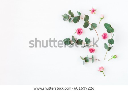 Flowers composition. Rose flowers and eucalyptus branches on white background. Flat lay, top view, copy space.