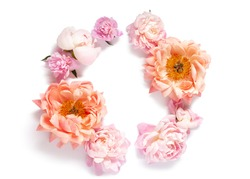 Flowers composition. Wreath made of peony flowers on white background. Flat lay, top view, copy space, isolated.