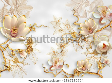 Flowers Crystal With Gold Branches Wallpaper illustrator 3rd