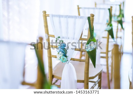 Flowers decorated in the wedding ceremony in the Chapel. #1453163771