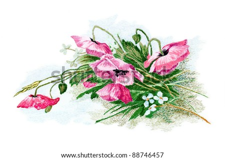 Flowers, embroidered smoothness, isolated on white background